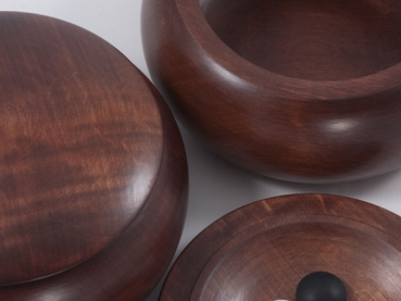 Big. Flat Wooden Bowls, Lime, Dark